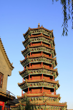 restore ancient ways: LUAN COUNTY - NOVEMBER 10: The Purple Metal Tower building landscape, November 10, 2013, Luan county, hebei province, China.