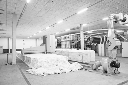 lint: LUANNAN COUNTY - DECEMBER 20: The Cotton fiber collecting mechanical equipment in a production workshop, in the ZeAo spinning LTD., on December 20, 2013, Luannan county, hebei province, China.