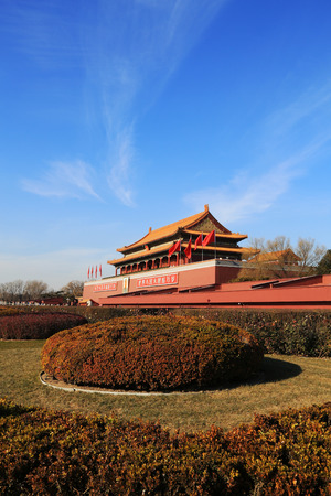 BEIJING - DECEMBER 22: The Gate of Heavenly Peace, the main entrance to Forbidden City, on december 22, 2013, Beijing, China.