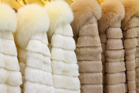 Well-organized fur clothing in a shop, north china Stock Photo