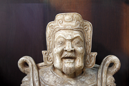 Chinese traditional style religious figure stone works, closeup of photo