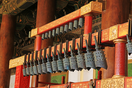 luxuriant: BEIJING - DECEMBER 22: The chinese chimes in the hall, in the Imperial Ancestral Temple, December 22, 2013, Beijing, China.   Editorial