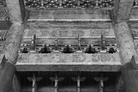 ancestral: BEIJING - DECEMBER 22: The wooden roof decoration structure in Imperial Ancestral Temple, December 22, 2013, Beijing, China.