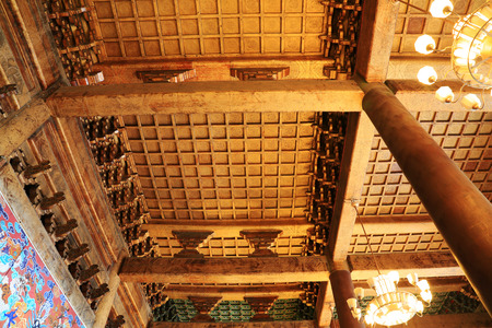 droplight: BEIJING - DECEMBER 22: The wooden roof decoration structure and droplight, in Imperial Ancestral Temple, December 22, 2013, Beijing, China.