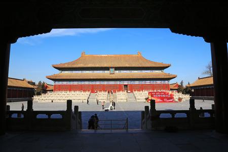 ancestral: BEIJING - DECEMBER 22: The Imperial Ancestral Temple building landscape, December 22, 2013, Beijing, China.