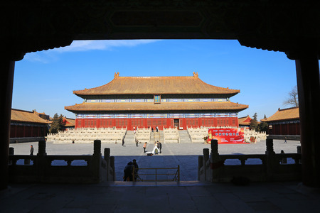 luxuriant: BEIJING - DECEMBER 22: The Imperial Ancestral Temple building landscape, December 22, 2013, Beijing, China.