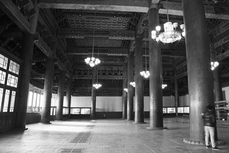 droplight: BEIJING - DECEMBER 22: The column and droplight indoors in the Imperial Ancestral Temple, December 22, 2013, Beijing, China.