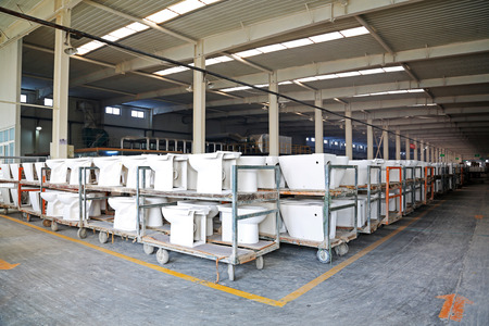 closestool: LUANNAN COUNTY - JANUARY 5: The ceramic closestool products assemblies in a warehouse, in the ZhongTong Ceramics Co., Ltd. January 5, 2014, Luannan county, Hebei Province, China.  Editorial