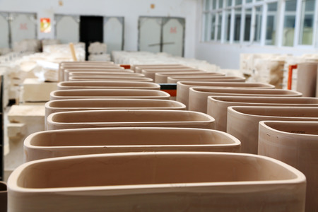 semifinished: The ceramic semi-finished products parts on the iron frame, in Luannan county, Hebei Province, China.