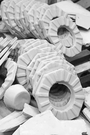 semifinished: LUANNAN COUNTY - JANUARY 5: The clay parts on the production line, in the ZhongTong Ceramics Co., Ltd. January 5, 2014, Luannan county, Hebei Province, China.