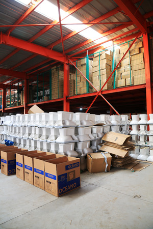 LUANNAN COUNTY - JANUARY 5: The ceramic closestool products assemblies in a warehouse, in the ZhongTong Ceramics Co., Ltd. January 5, 2014, Luannan county, Hebei Province, China.  Editorial