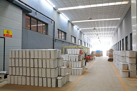 closestool: LUANNAN COUNTY - JANUARY 5: The ceramic closestool products stacked in the warehouse, in the ZhongTong Ceramics Co., Ltd. January 5, 2014, Luannan county, Hebei Province, China.