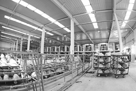 semifinished: LUANNAN COUNTY - JANUARY 5: The ceramic semi-finished products parts on the iron frame, in the ZhongTong Ceramics Co., Ltd. January 5, 2014, Luannan county, Hebei Province, China.