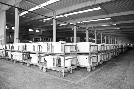 closestool: LUANNAN COUNTY - JANUARY 5  The ceramic closestool products assemblies in a warehouse, in the ZhongTong Ceramics Co , Ltd  January 5, 2014, Luannan county, Hebei Province, China