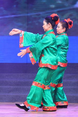 TANGSHAN - JANUARY 26  The ancient costume PingJu performance on stage, January 26, 2014, tangshan, china