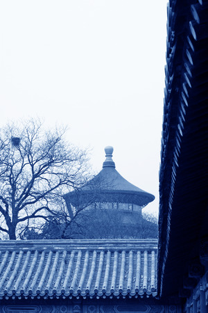 The QiNianDian and glazed tile scenery in the temple of heaven park Beijing, China.   photo