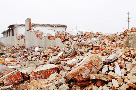 housing demolition materials in the demolition site Stock Photo