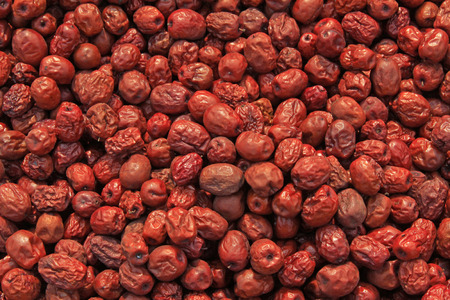 forest products: closeup of pictures, piles of red jujube Stock Photo