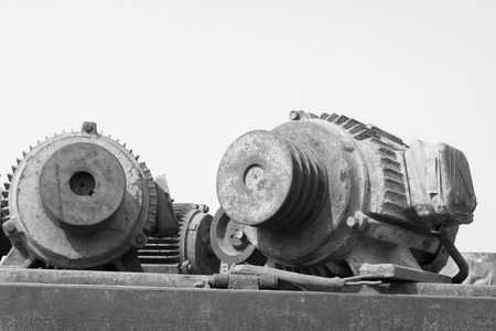 secondhand: abandoned motor in a second-hand goods market Stock Photo