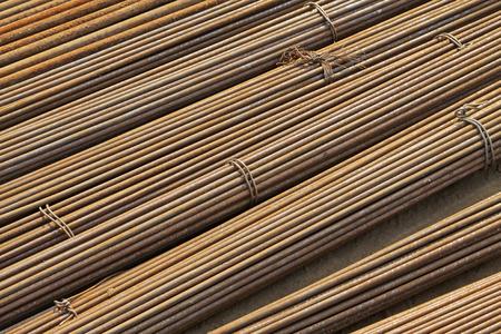 bundling: oxidation rusty reinforcing steel bar, closeup of photo
