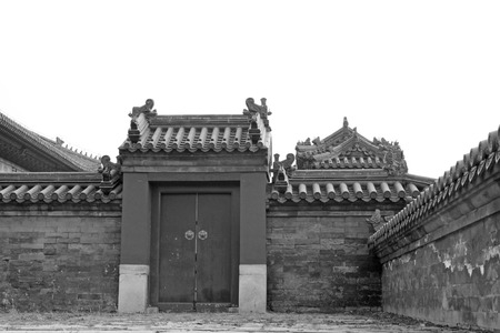 restore ancient ways: Chinese traditional landscape architecture style, closeup of photo Stock Photo