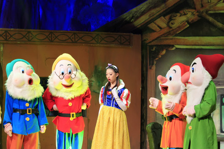 seven dwarfs: LUANNAN COUNTY - APRIL 27: famous pantomime Snow White and the seven dwarfs still, on April 27, 2014, Luannan county, Hebei province, China