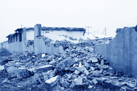 tsunamis: housing demolition materials in the demolition site Stock Photo