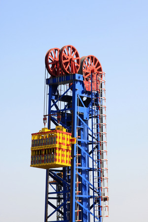 counterweight: CAOFEIDIAN - MAY 2: frame type pumping unit in the JiDong oilfield, on may 2, 2014, caofeidian, hebei province, China.