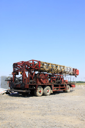 oil exploration: oil industry special vehicles in an oil exploration area  Stock Photo