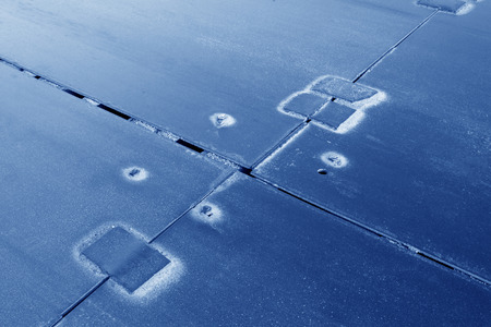 piastra acciaio: patch su piastra di acciaio, closeup di foto
