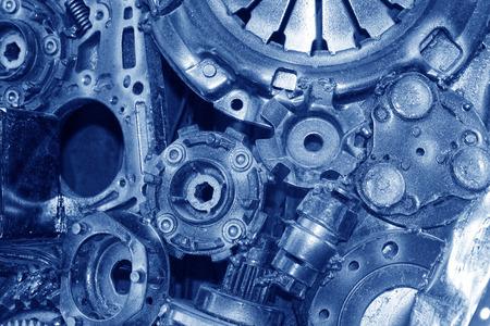 Gear bearing metal parts plant, closeup of photo
