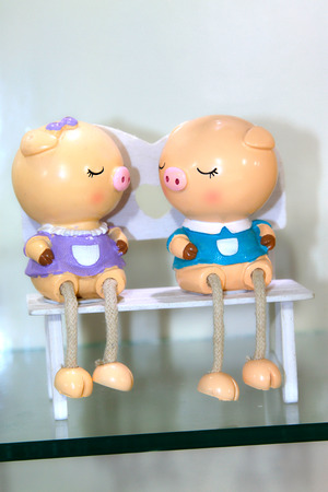 formative: cartoon little piggy formative dolls on the store shelves Stock Photo