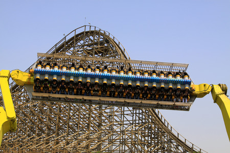 TIANJIN - MAY 17: large amusement facilities and wooden roller coaster track, Happy Valley, on May 17, 2014, Tianjin, China.