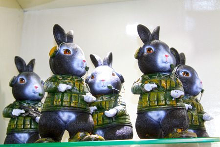 cartoon rabbit soldiers formative dolls on the store shelves