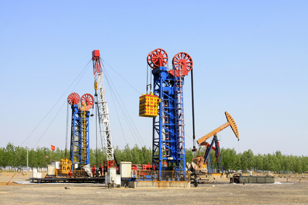 CAOFEIDIAN - MAY 2: frame type pumping unit in the JiDong oilfield, on may 2, 2014, caofeidian, hebei province, China.