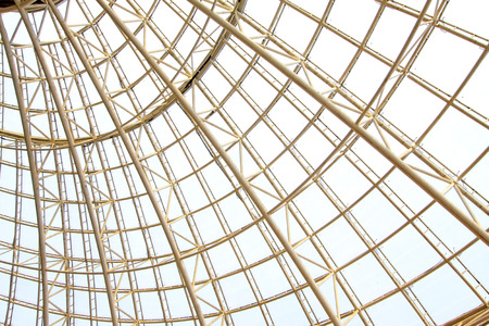 Large steel structure of trusses Stock Photo