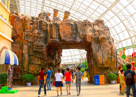 TIANJIN - MAY 17: Fake rock landscape architecture in Happy Valley, on May 17, 2014, Tianjin, China.