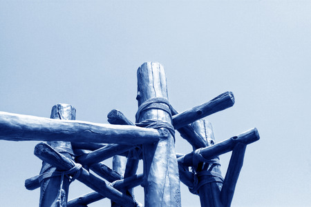 bundling: wooden stick and rope landscape architecture, closeup of photo