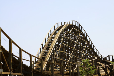 wood turning: TIANJIN - MAY 17: wooden roller coaster track, Happy Valley, on May 17, 2014, Tianjin, China.