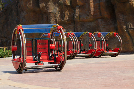 electric cars: TIANJIN - MAY 17: strange Electric cars, Happy Valley, on May 17, 2014, Tianjin, China.