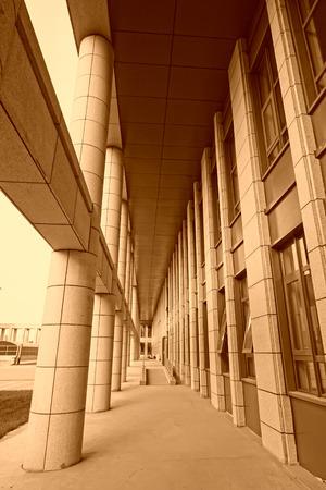 corridors: Column and corridors in an office building, closeup of photo
