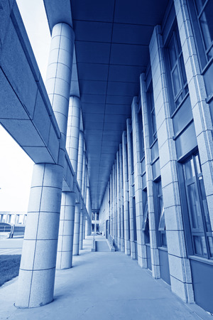 corridors: Column and corridors in an office building, closeup of photo
