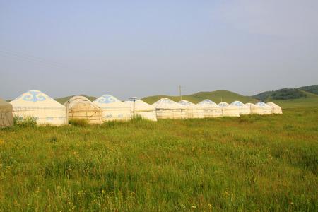 mongolian yurt landscape architecture, closeup of photo  photo