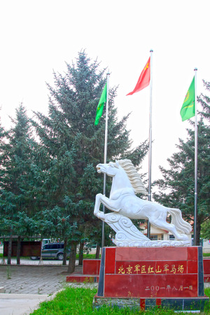 mongolia horse: HEXIGTEN BANNER - JULY 18: benz horse sculpture in the Beijing military area command of the Chinese peoples liberation army Hong Shan Army Horse Ranch, on july 18, 2014, Hexigten Banner, Chifeng city,Inner Mongolia autonomous region, China   Editorial