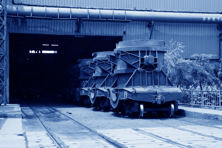 crucible: Transport molten iron crucible vehicle in the steel mills, closeup of photo