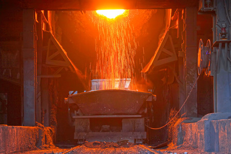 crucible: TANGSHAN - JUNE 18: converter dumping steel slag in iron and steel co., on June 18, 2014, Tangshan city, Hebei Province, China