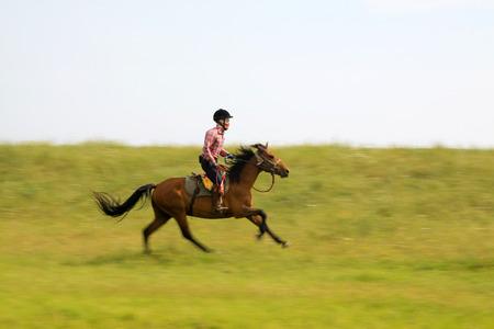mongolia horse: WULANBUTONG GRASSLAND - JULY 19: Speeding horse and knights in the WuLanBuTong grassland, on July 19, 2014, Inner Mongolia autonomous region, China.