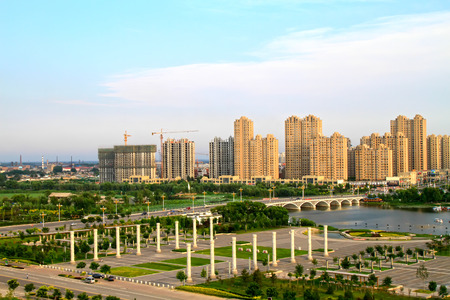 greening: LUANNAN COUNTY - JULY 14: Urban construction scenery, on july 14, 2014, Luannan county, Hebei Province, China