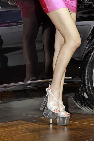 wheels and purple skirt high-heeled shoes in a auto show photo