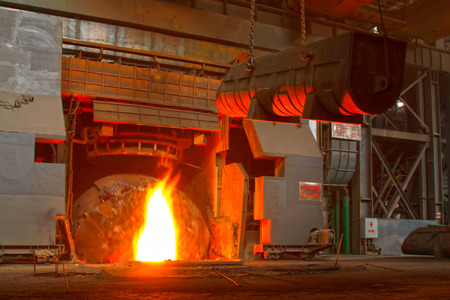 tangshan city: TANGSHAN - JUNE 18: converter plus iron material in iron and steel co., on June 18, 2014, Tangshan city, Hebei Province, China